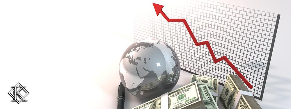 Uma pilha de dólares, um globo e um gráfico com uma seta vermelha crescente, que representam as mudanças da taxa de câmbio.