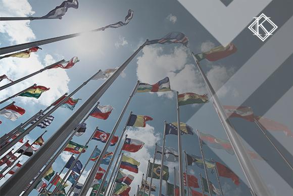Bandeiras de diversos países do mundo ilustrando a publicação