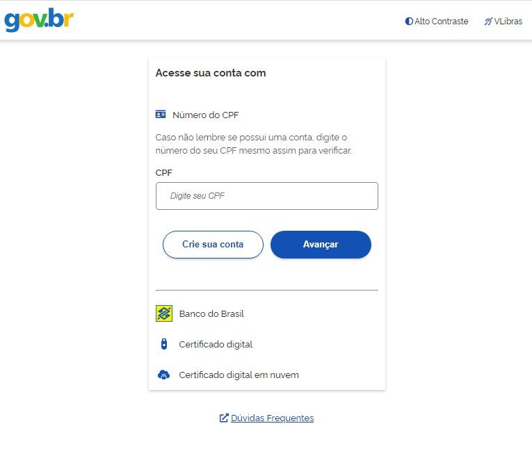 Print da tela do MEU INSS contendo o espaço para fazer login no ambiente de acesso. Campo em aberto para inserir o CPF.