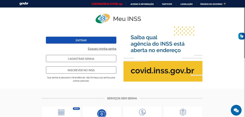 """Print da tela de login do """"Meu INSS"""" com as opções """"entrar"""", """"cadastrar senha"""" e """"inscrever no INSS"""". O print específico tem uma chamada para saber qual agência do INSS está aberta, devido à pandemia do coronavírus."""