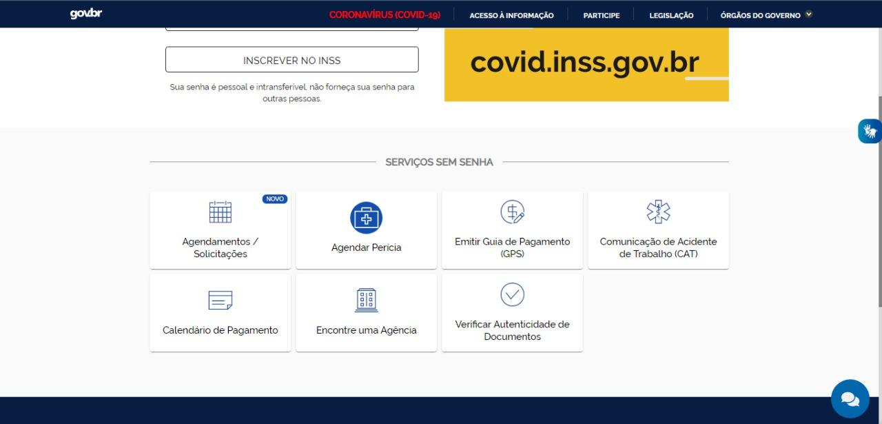 """Print da tela do site """"Meu INSS"""" com a lista de opções de serviços sem senha."""