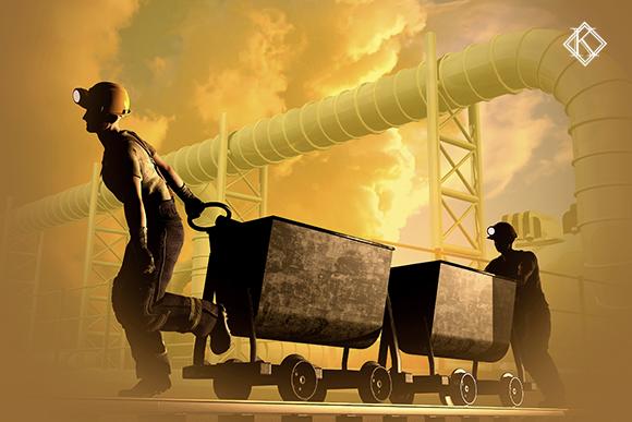 Mineradores em local de trabalho