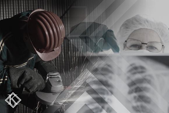 """Duas fotografias sobrepostas, uma com uma trabalhadora seguran um raio X e outra de um trabalhador industrial afiando metal. A imagem ilustra o texto """"Insalubridade permite aposentadoria do servidor com 25 anos de trabalho"""""""