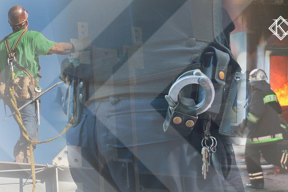 """A imagem mostra três profissões que expõe o trabalhador à periculosidade, e ilustra a publicação """"Aposentadoria Especial: periculosidade"""", da Koetz Advocacia."""