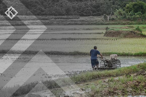 """Imagem de um homem de costas passando uma máquina em sua lavoura, ao lado tem um lago. A imagem tem um filtro cinza de acordo com a identidade visual da Koetz Advocacia. No canto superior esquerdo está a logo branca da Koetz Advocacia. A imagem ilustra o texto """" Provas de Tempo Rural: como você pode conseguir ?""""."""