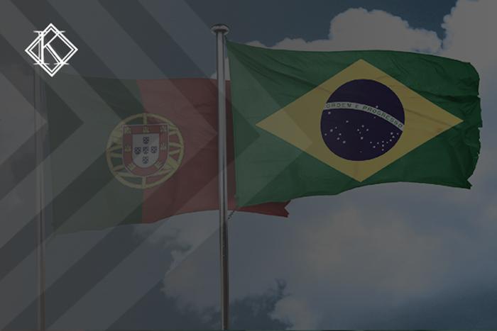 """Imagem da bandeira de Portugal e a bandeira do Brasil.A imagem tem um filtro cinza de acordo com a identidade visual da Koetz Advocacia. No canto inferior direito está a logo branca da Koetz Advocacia. A imagem ilustra o texto """"Acordo de Previdência Portugal e Brasil: entenda como funciona""""."""