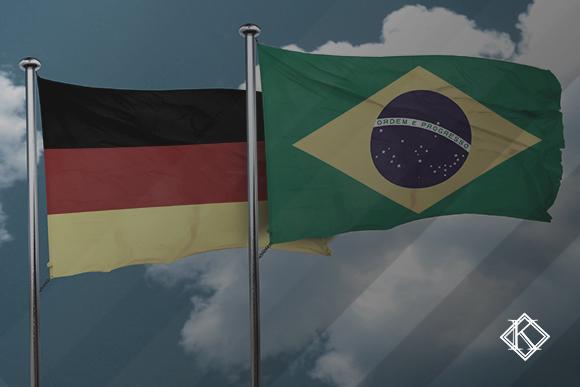 """A imagem mostra uma bandeira brasileira e uma alemã. A imagem ilustra a publicação """"Acordo previdenciário entre Alemanha e Brasil: Como aplicar"""