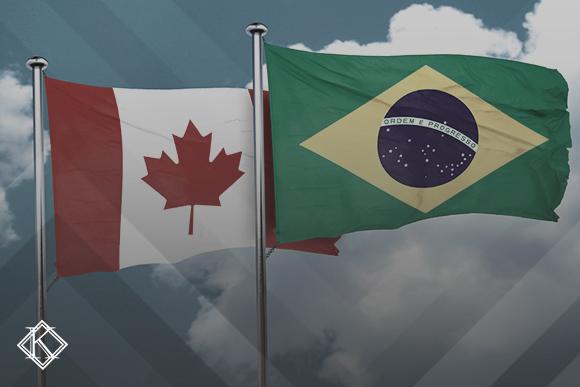 Bandeiras do Brasil e Canadá ilustrando a publicação