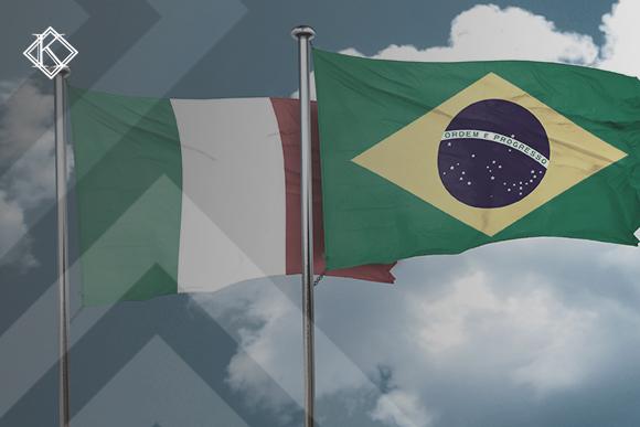 """Bandeiras do Brasil e da Itália ilustrando a publicação """"Acordo Previdenciário Itália e Brasil: quais os direitos e como usar?"""", da Koetz Advocacia."""