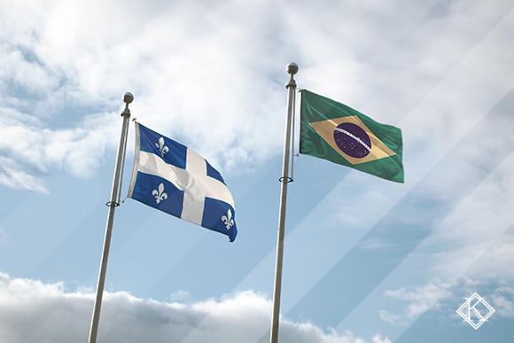"""Bandeiras do Brasil e da cidade de Quebec ilustrando a publicação """"Acordo Previdenciário Quebec e Brasil: quando é válido?"""", da Koetz Advocacia."""