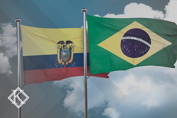 """Bandeiras do Brasil e Equador. A imagem ilustra a publicação """"Acordo Previdenciário entre Brasil e Equador: direitos e quando vale usar?"""" da Koetz Advocacia."""