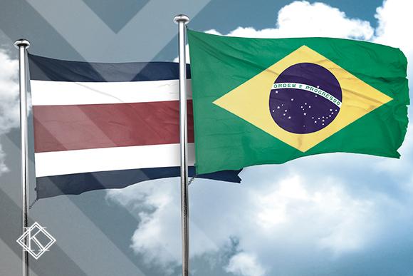 Bandeiras do Brasil e da Costa Rica ilustrando a publicação