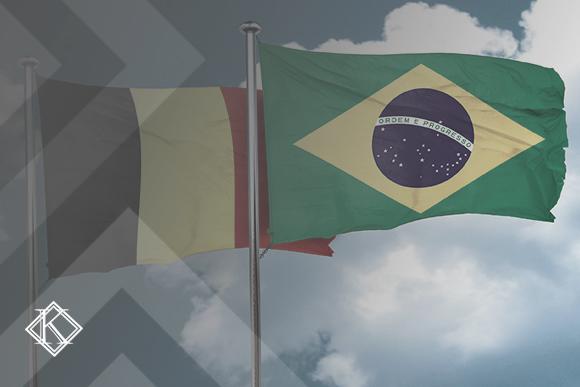 """Bandeiras do Brasil e da Bélgica. A Imagem ilustra a publicação """"Acordo de Previdência da Bélgica com o Brasil"""", da Koetz Advocacia."""