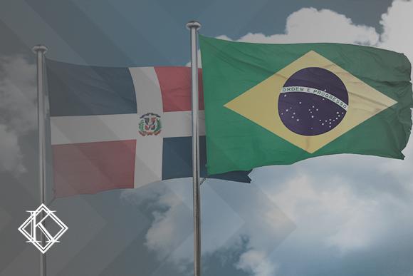 A imagem mostra as bandeiras do Brasil e da República Dominicana, e ilustra a publicação sobre o