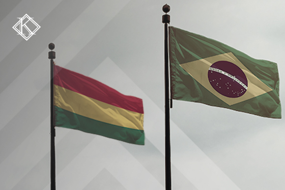 Bandeiras do Brasil e da Bolívia ilustrando a publicação