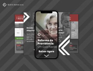 A imagem contem fotos de mulheres e homens com idade para a aposentadoria. Na imagem principal, vemos uma mulher olhando para frente e sorrindo. O texto que acompanha essa imagem diz: Reforma da Previdência: Um Guia Rápido. Baixar Agora.