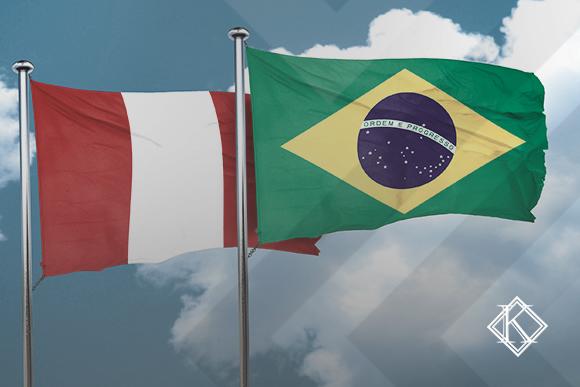 """Bandeiras do Brasil e do Peru ilustrando a publicação """"Acordo de Previdência do Peru e do Brasil""""."""