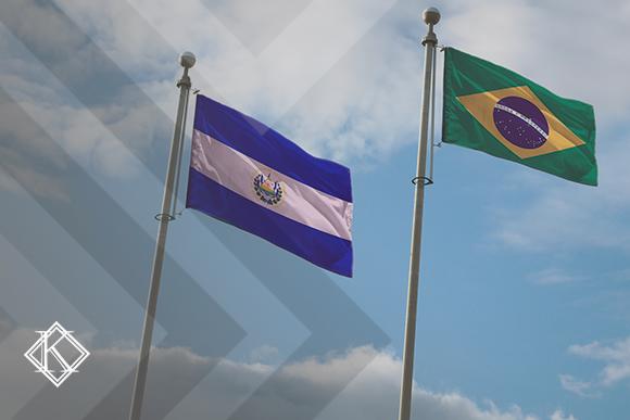 Bandeiras de El Salvador e Brasil. A imagem ilustra a publicação