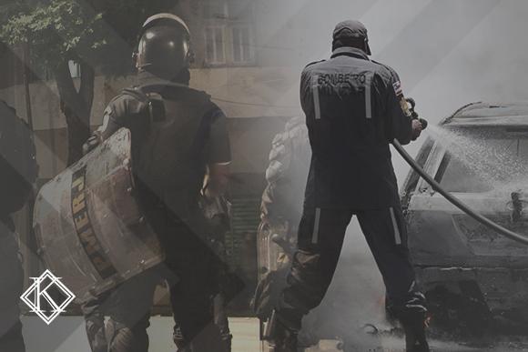 """A imagem é uma sobreposição de fotos de um policial e de um bombeiro em ação, e ilustra a publicação """"Periculosidade o que é e como comprovar para aposentadoria especial"""", da Koetz Advocacia."""