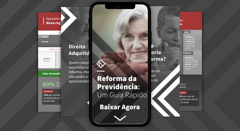 Banner para baixar o guia rápido da reforma da previdência. Elaborado pela Koetz Advocacia.