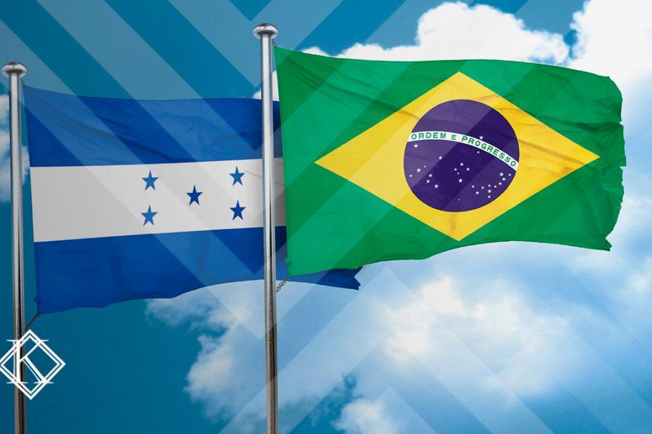 """A imagem mostra bandeiras do Brasil e de Honduras, e ilustra a publicação """"Acordo de Previdência Honduras e Brasil: qual é a situação atual?"""", da Koetz Advocacia."""