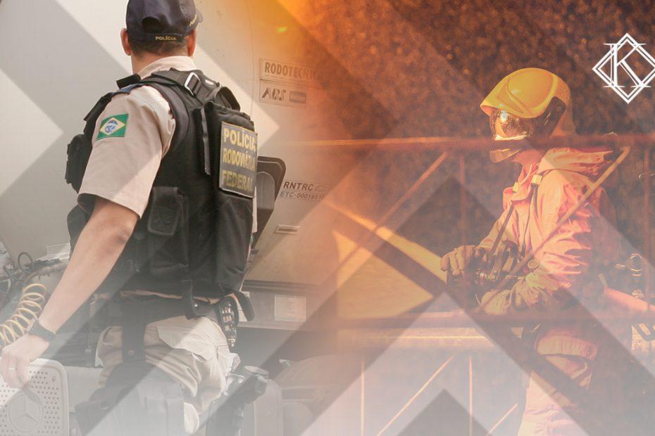 """A imagem é uma sobreposição de duas fotos, uma de um policial e outra de um bombeiro, e ilustra a publicação """"Quem recebe adicional de periculosidade tem direito à aposentadoria especial?"""", da Koetz Advocacia."""