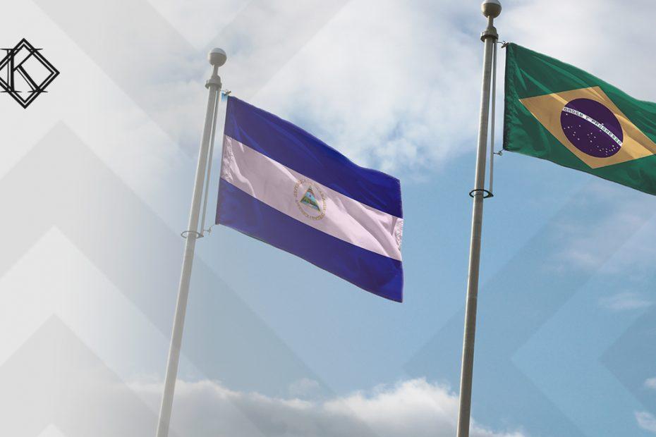 """A imagem mostra as bandeiras do Brasil e da Nicarágua, e ilustra a publicação """"Acordo de Previdência com a Nicarágua: qual a situação atual?"""", da Koetz Advocacia."""